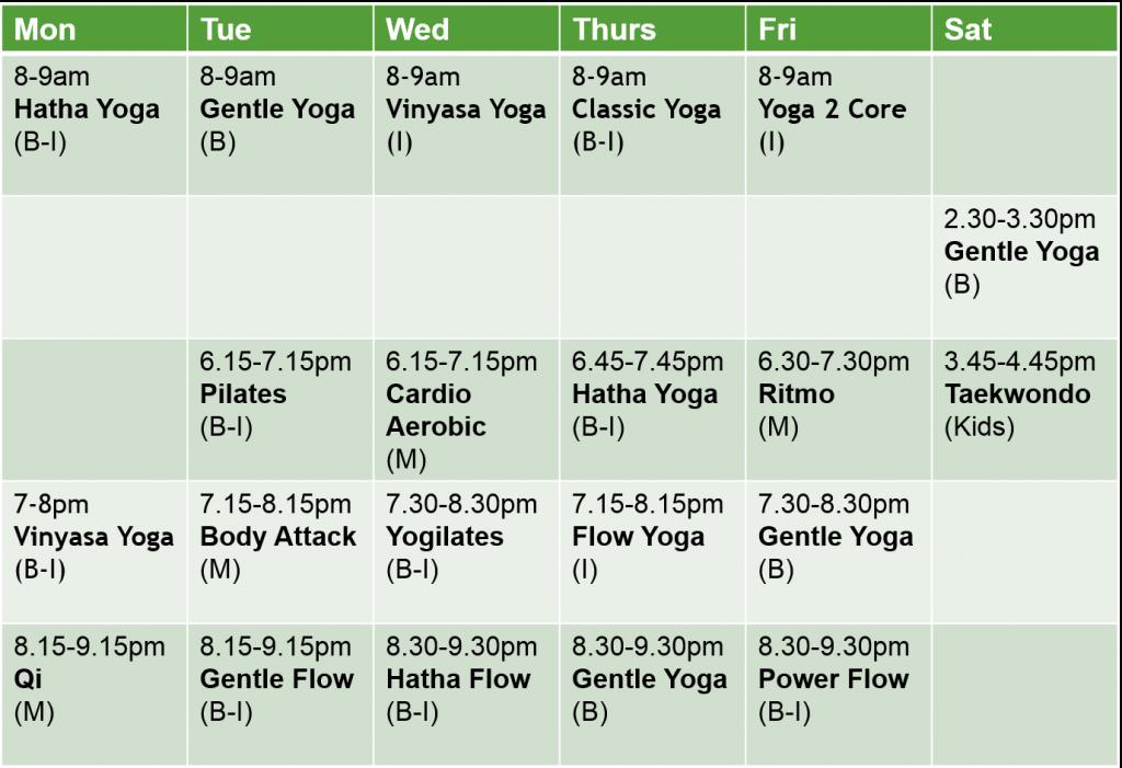 Kepong Class Schedule